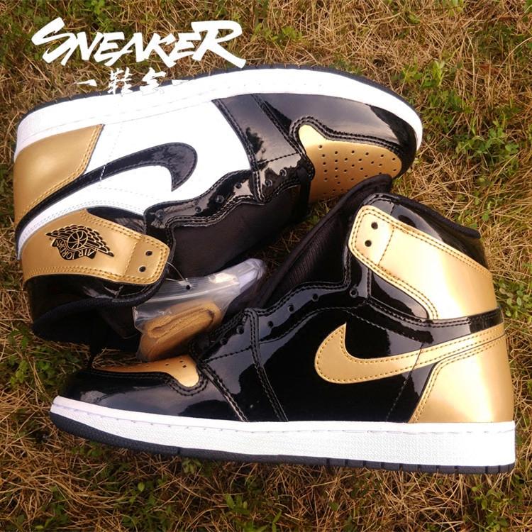 鞋会 Air Jordan 1 Gold Toe AJ1 黑白金 黑金脚趾 861428-007