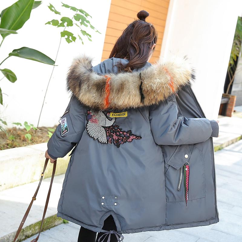 实拍2019新款秋冬装羽绒服女韩版大码宽松中长款棉服外套面包服