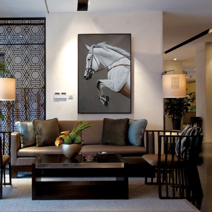 New Chinese decorative painting black and white horse head decorative painting with horse pattern