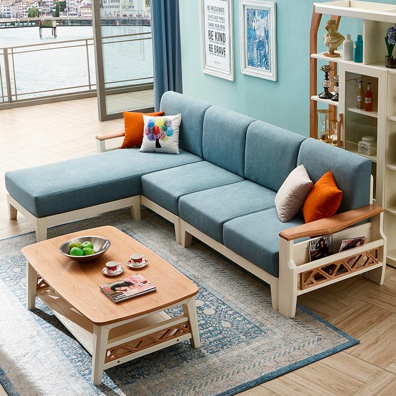 10月18日最新优惠康名箭北欧实木红橡木布艺现代简约转角沙发组合大小户型客厅家具