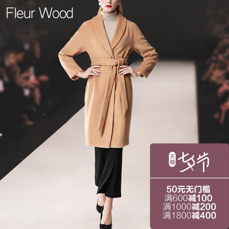 FLEUR WOOD秋冬新款女装欧美修身大翻领系腰带中长款毛呢外套大衣