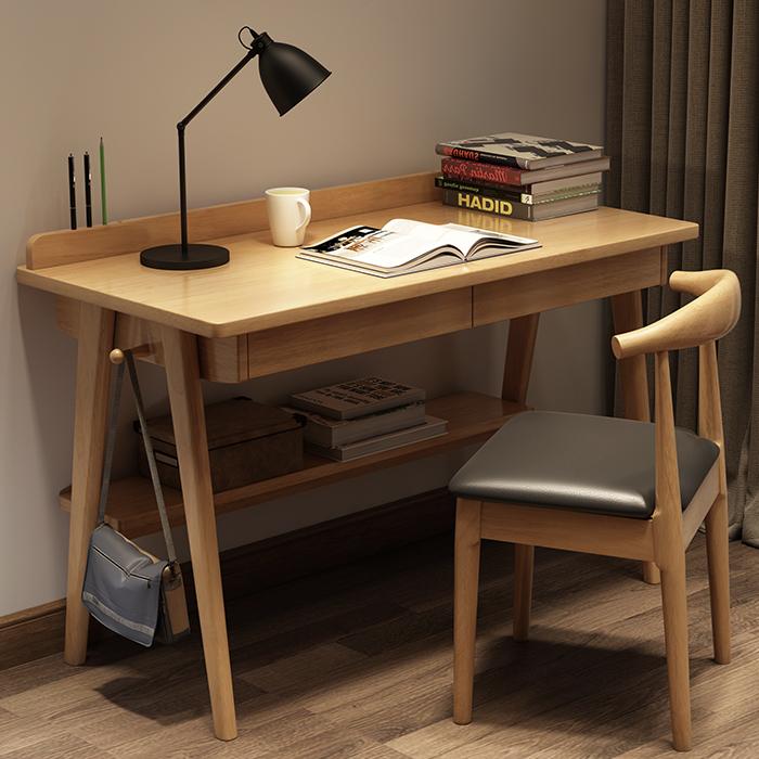 热销0件五折促销实木书桌北欧简约家用日式台式电脑桌学生宿舍现代经济型卧室桌子