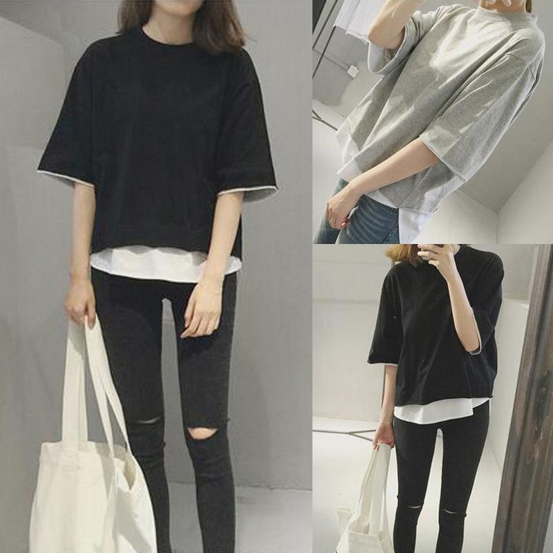 2018夏装新款韩版宽松拼接假两件短袖T恤女士上衣女装衣服女