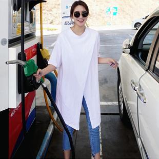 开叉短袖 打底衫 夏韩版 T恤女中长款 白色学生休闲纯棉上衣 宽松大码