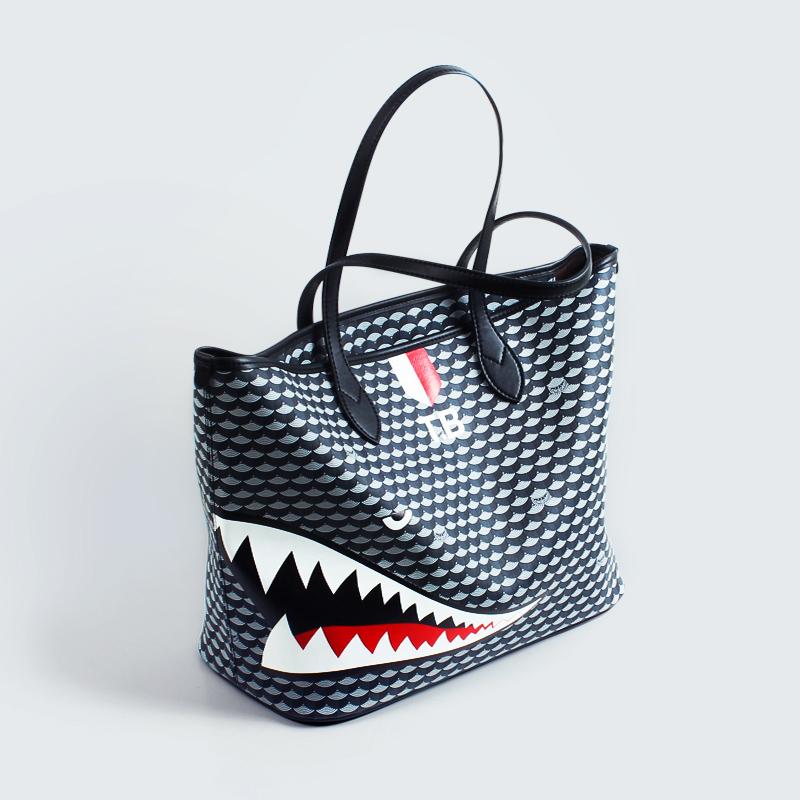 Tomi Borry潮牌女包托特包个性鲨鱼单肩包百搭时尚大包软皮购物袋