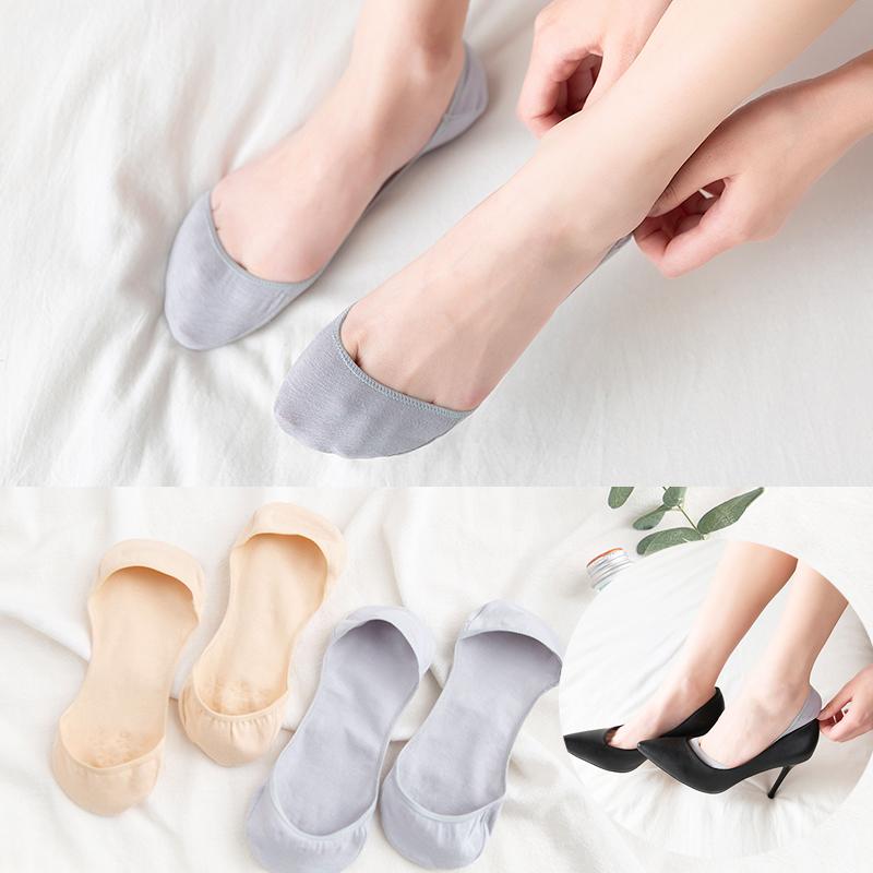 Giày cao gót vô hình vớ nữ thuyền vớ nữ nông vớ silicone chống trượt mùa hè mùa hè mỏng phần trong vớ thủy triều - Vớ mắt cá chân
