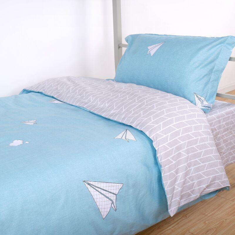 被套三件套 宿舍单人床学生ins风裸睡1.2m儿童床上床单三件套纯棉