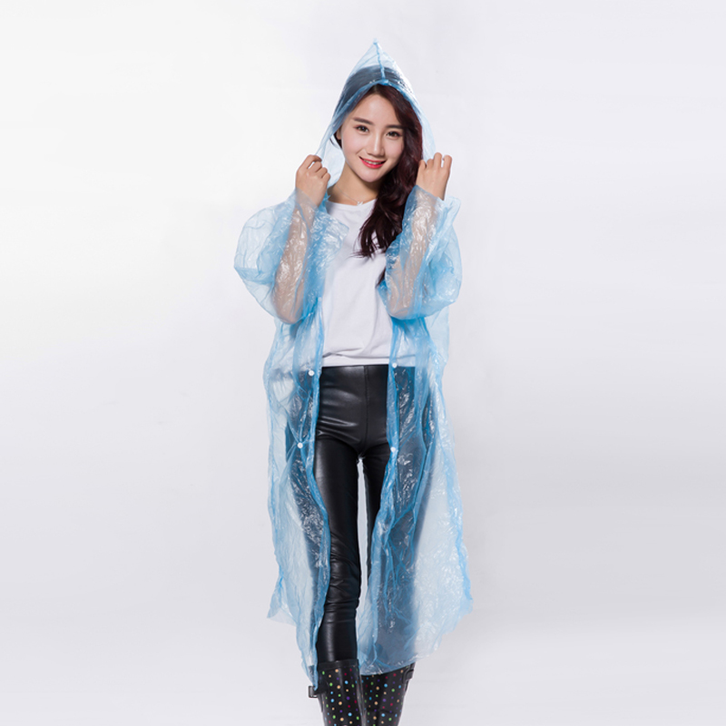 Disposable raincoat outdoor adult Travel Portable hiking mountaineering transparent poncho ultra light for men and women