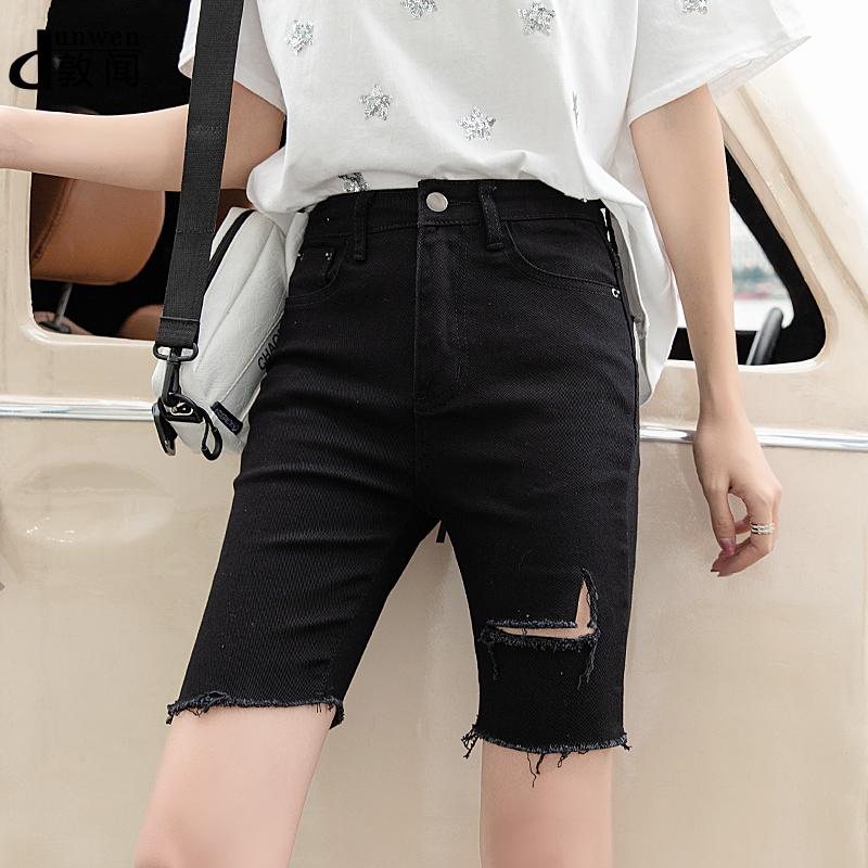 夏季新款破洞牛仔短裤女紧身中裤黑色外穿弹力显瘦泫雅骑行五分裤