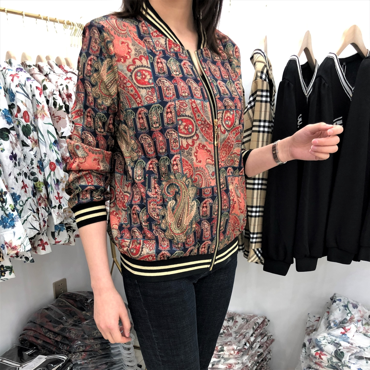 Satin bomber womens spring and autumn coat flower jacket mother middle age 2020 popular womens casual short spring and summer