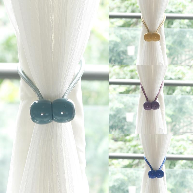 创意窗帘磁吸绑扣绑珠免打孔防水纱帘浴帘绑绳一对装窗帘磁吸绑带