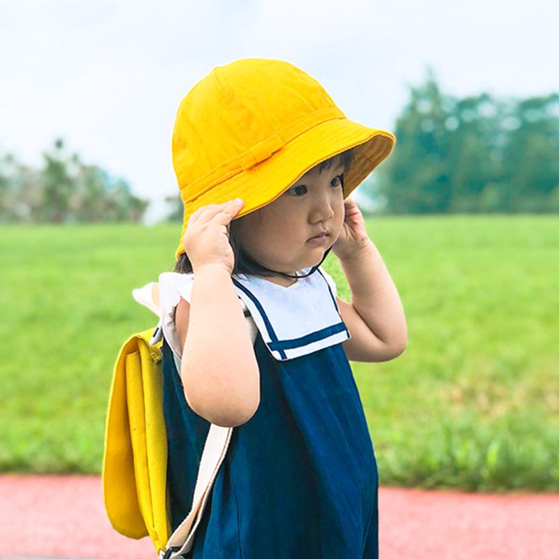 樱桃小丸子幼稚园定制logo儿童亲子小黄帽小学生渔夫帽宝宝遮阳帽