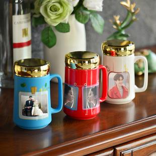 diy创意色釉照片杯个性带盖水杯