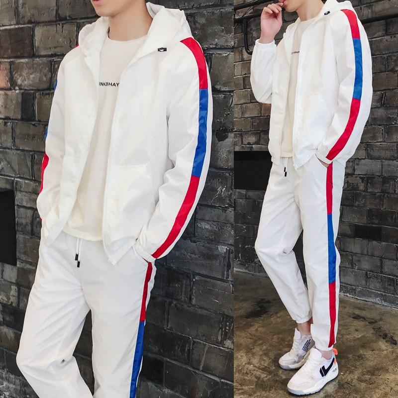 秋季新款开衫卫衣套装男士连帽外套青少年学生韩版潮流两件套2018