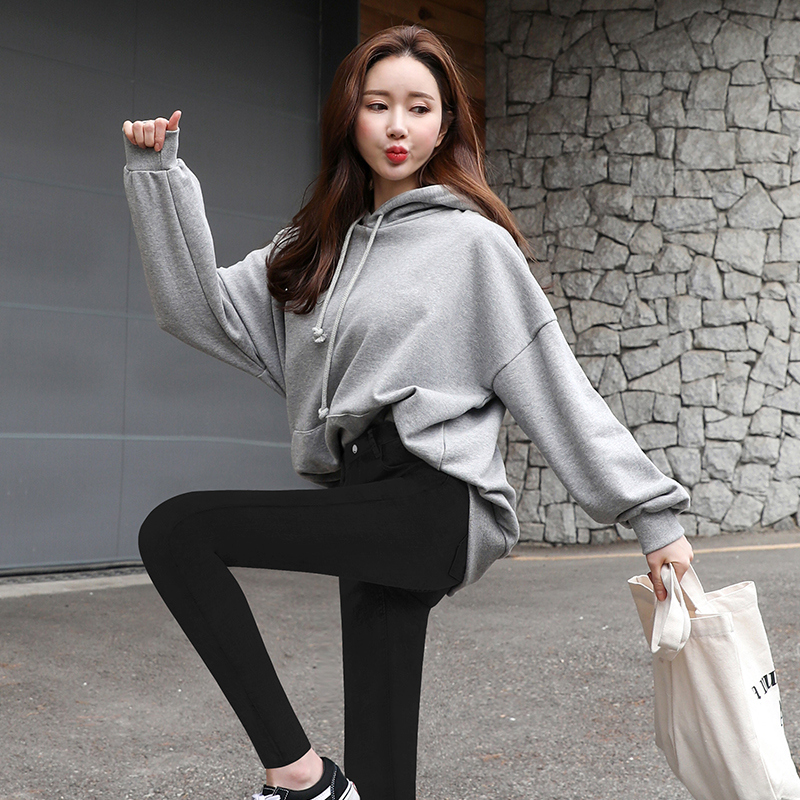 Hooded sweater womens long sleeve 2021 new spring and autumn Korean version medium length loose and thin large size coat