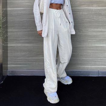 WEEKEEP 白色垂感拖地百搭直筒宽松运动休闲裤女松紧腰绑带显瘦潮
