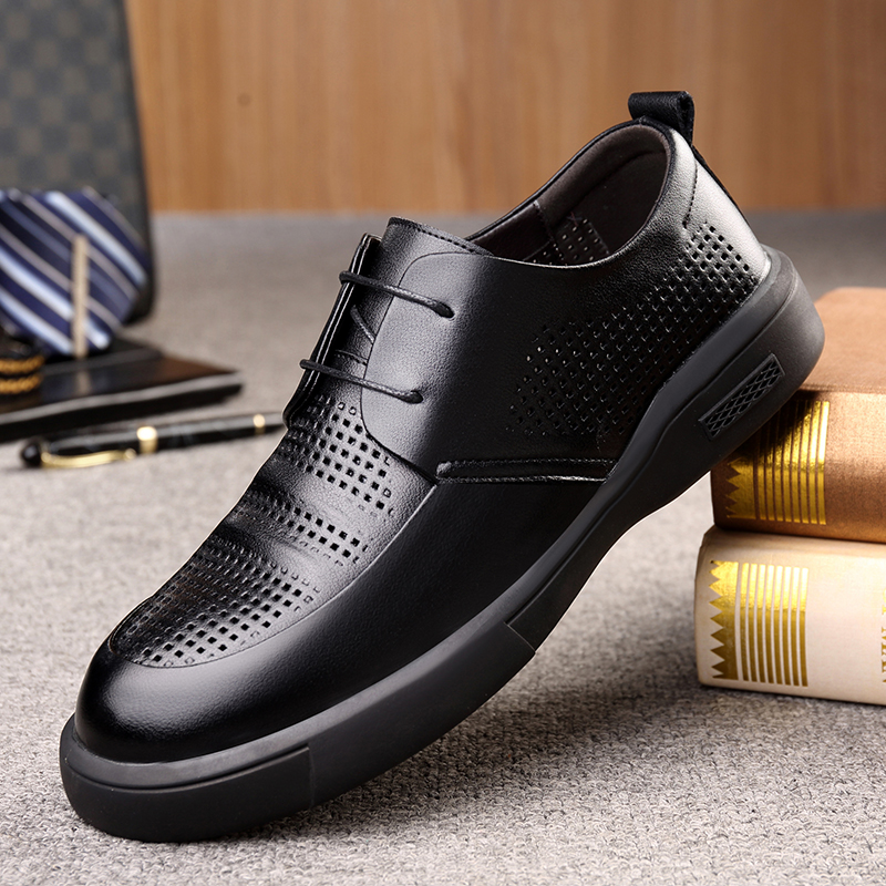 Hollow out leather shoes mens leather summer breathable Leather Sandals