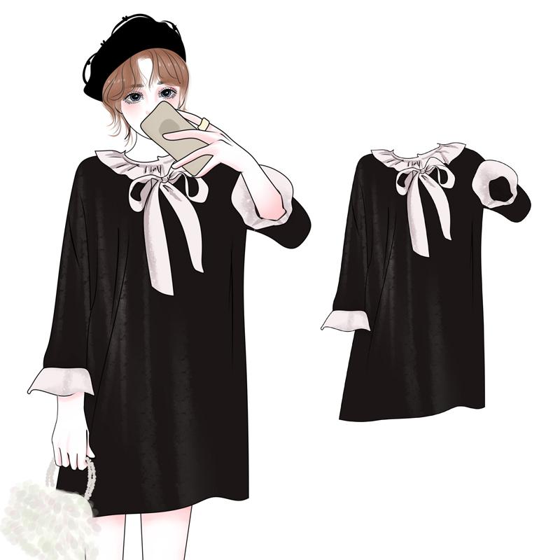 2018初秋新款女装胖mm加大码甜美减龄腰粗遮肚子显瘦连衣裙200斤