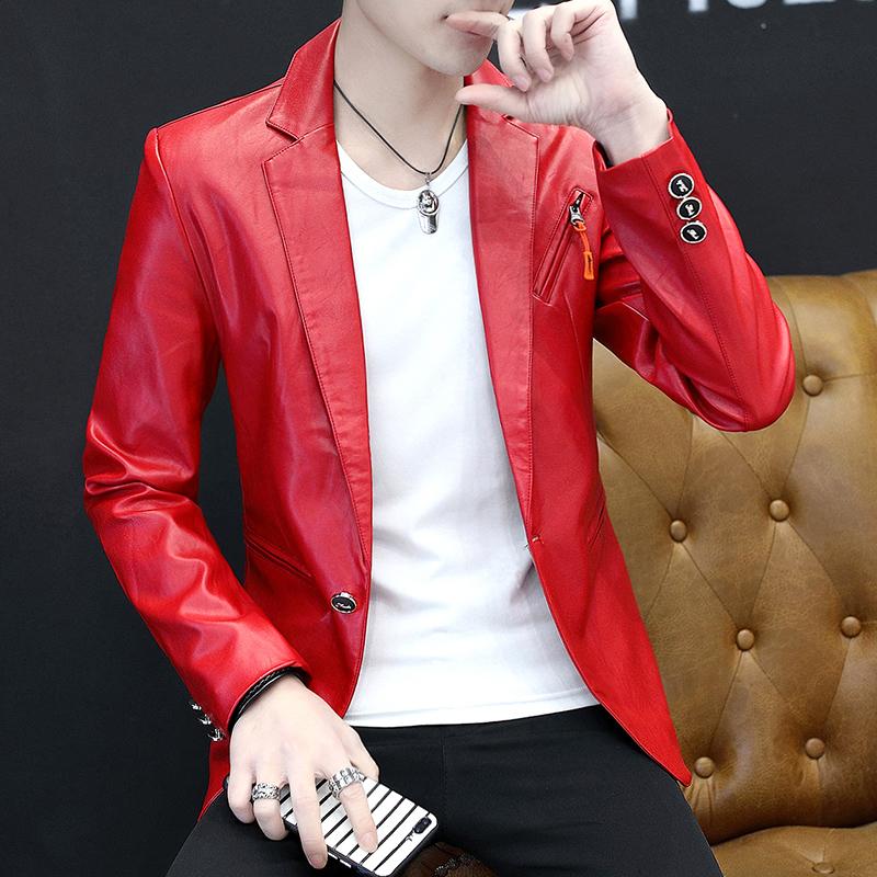 即潮流2020春秋新款皮衣男韩版短款修身皮西装青少年帅气西服外套