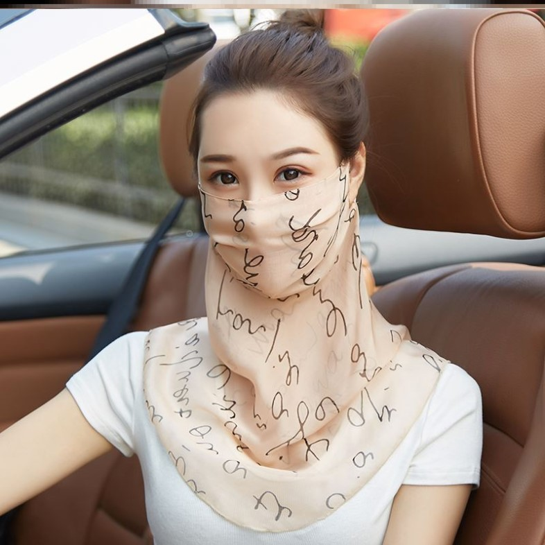 Silk neck protection women walk to cover their face wrap summer driving headscarf small silk scarf thin half face to cover the sun