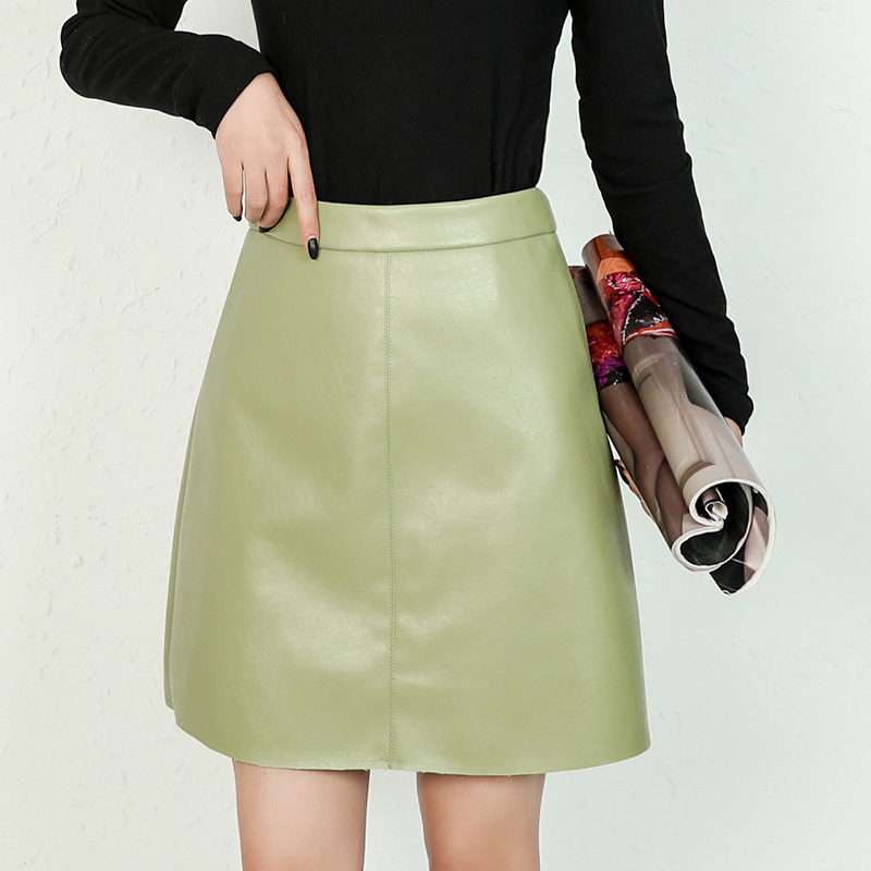 Pu short skin skirt
