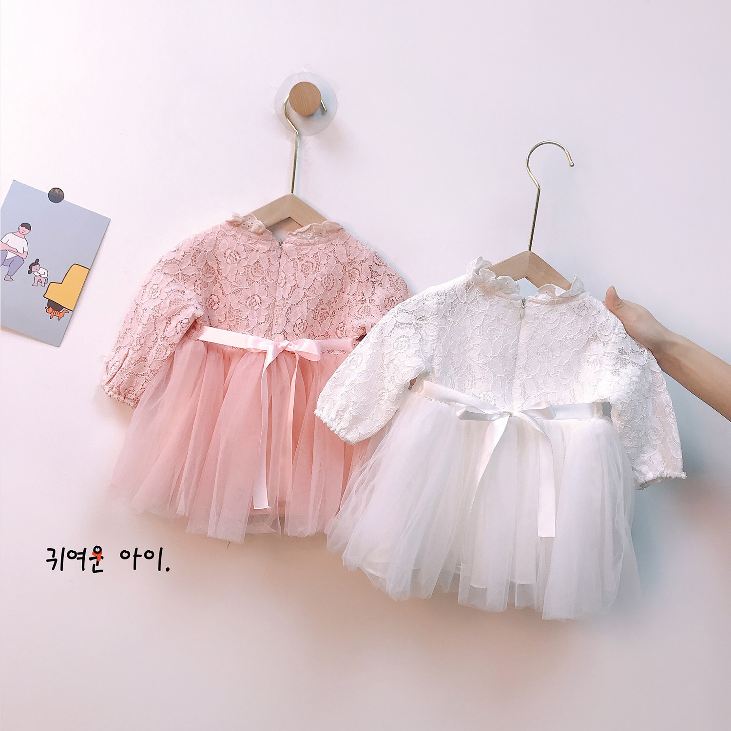Girls dress spring and autumn long-sleeved lace mesh embroidery skirt girl baby princess dress children's dress with hood