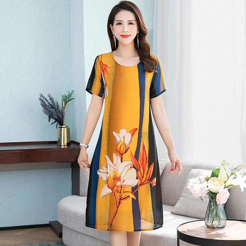 Casual and comfortable mothers Day gift clothes fat mother medium long large Chiffon Dress middle-aged and old women summer