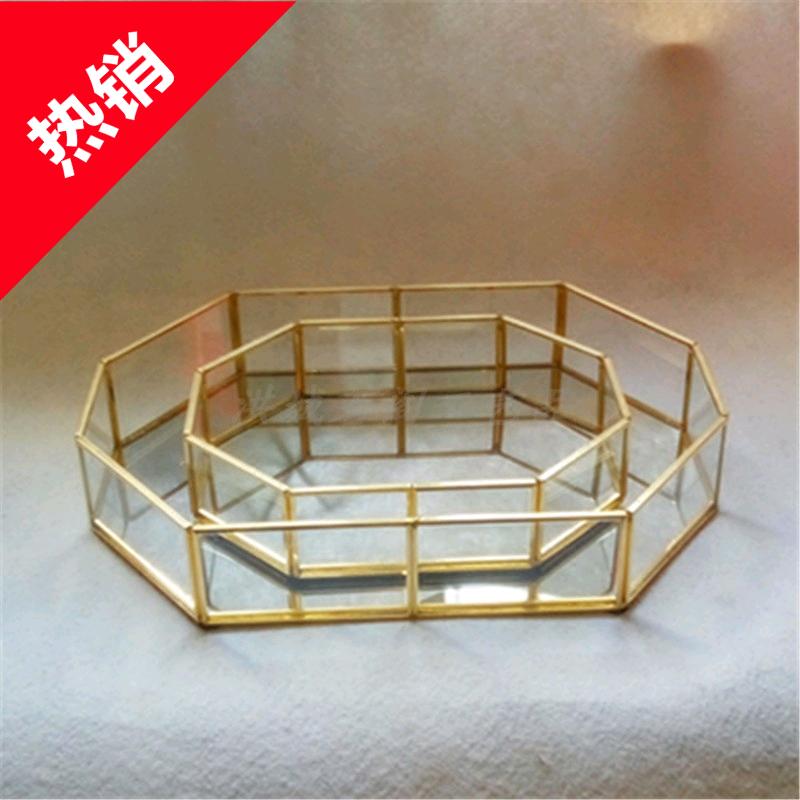 Континентальный медь золото рук работа сварка прозрачный лоток геометрия ювелирные изделия хранение блюдо десерт блюдо стекло цветок дом украшение