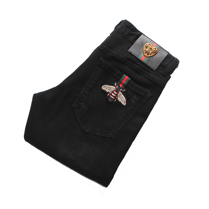 Korean fashion brand little bee mens spring and autumn casual casual straight tube embroidery Black Slim jeans
