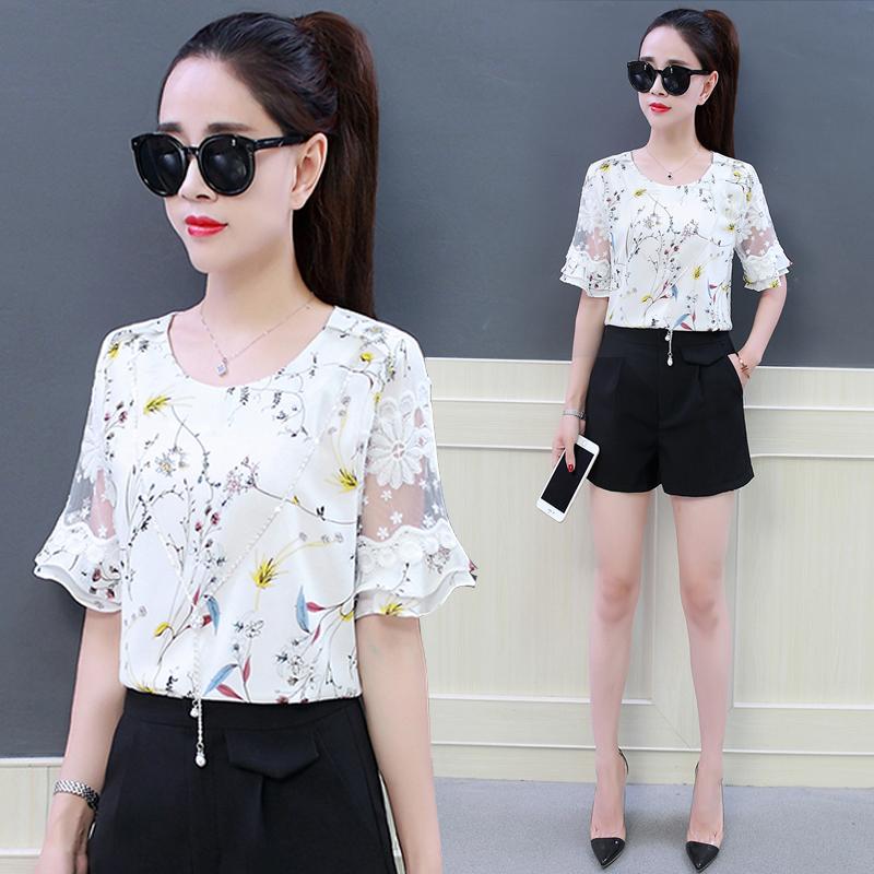 chic碎花雪纺衫女2018新款韩版甜美洋气修身蕾丝上衣夏季短袖小衫