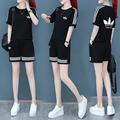 休闲套装女夏季2021新款韩版宽松显瘦时尚短裤运动服短袖两件套潮