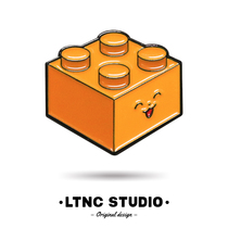 日式卡通可爱金属徽章二次元配饰原创彩色积木表情胸针LTNC自制