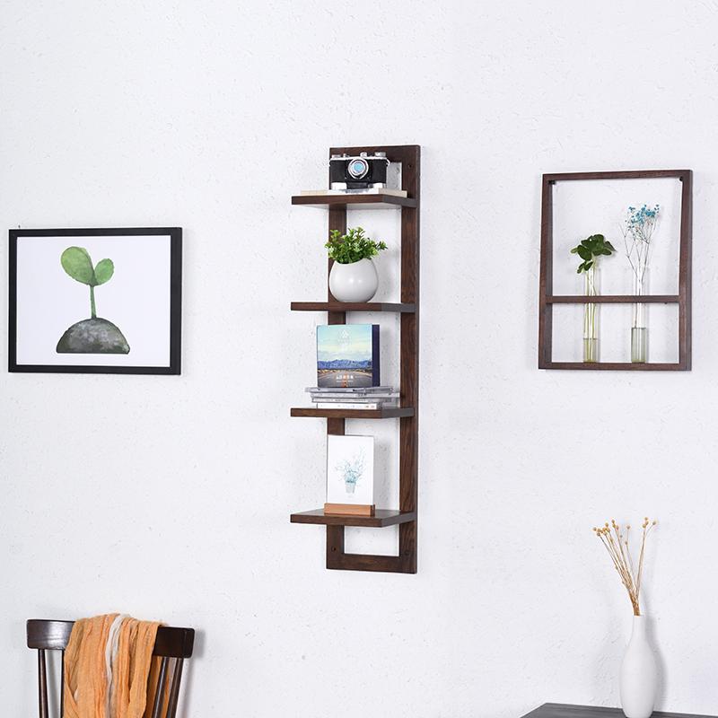 北欧墙上置物架壁挂现代简约客厅CD架子多层碟片架实木墙面置物架