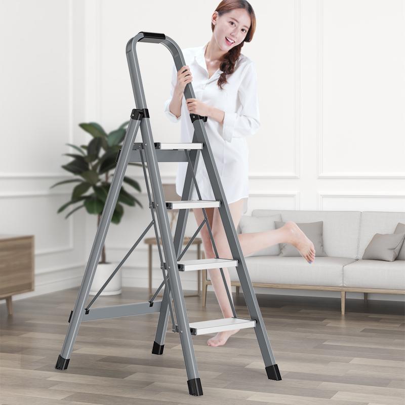 奥鹏铝合金梯子家用折叠人字梯加厚室内多功能楼梯三步爬梯小扶梯