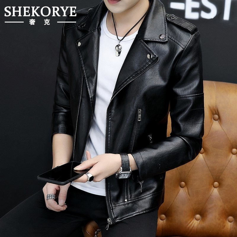 Men's Outerwear spring and autumn 2020 new leather coat men's slim fit Korean Trend handsome trend brand leather jacket VK