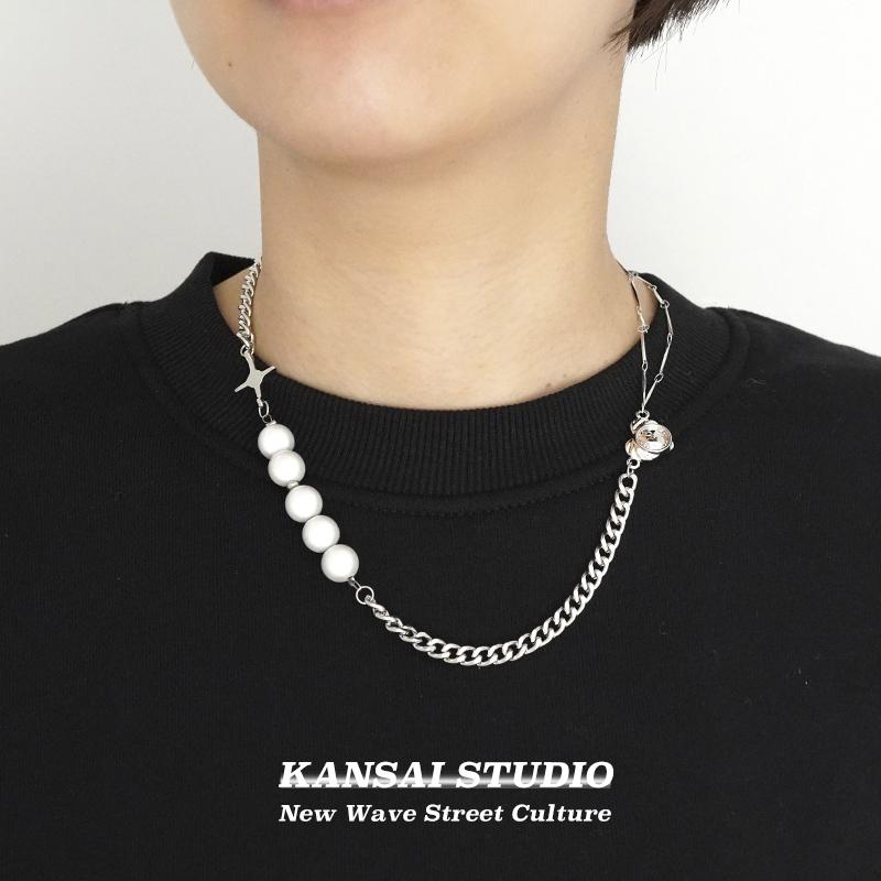 潮锁骨链毛衣链子轻奢小众珍珠星星爱心拼接项链女嘻哈KANSAIins