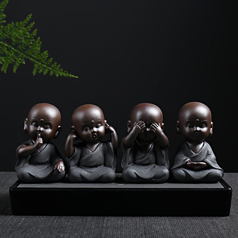 小和尚茶宠摆件 精品陶瓷人物四不小和尚 可养禅意小沙弥
