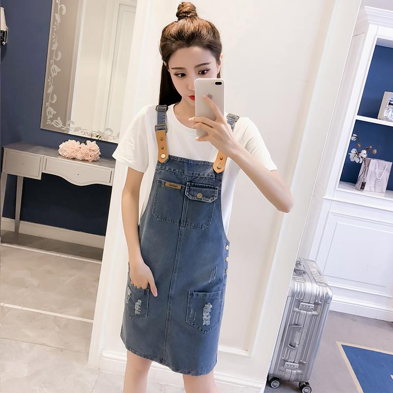 牛仔背带裙女中长款2018夏季新款女装高中学生韩版休闲牛仔连衣裙