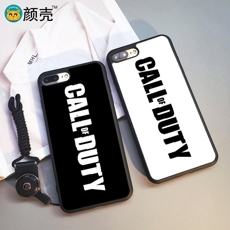 COD使命召唤 黑白 iphone7手机壳6s苹果X软壳5S挂绳7plus保护套8p