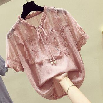 蕾丝拼接2020夏季新款韩版潮雪纺衫