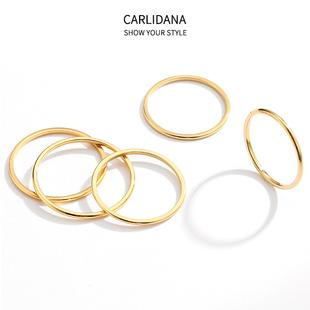 韩国女生细戒指小指尾戒IPG18K玫瑰金食指关节戒环闺蜜戒指 5件套