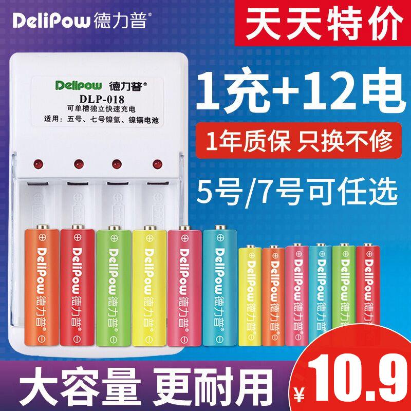 德力普5号可充电电池套装配充电器