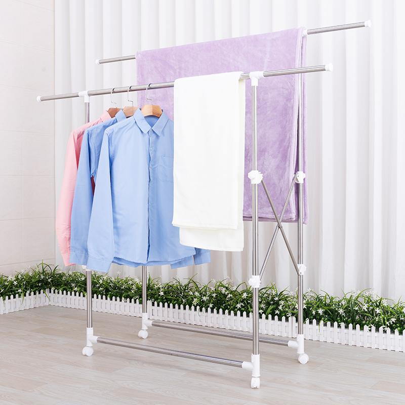 热销49件有赠品落地折叠室内双杆式衣服架子晒衣架