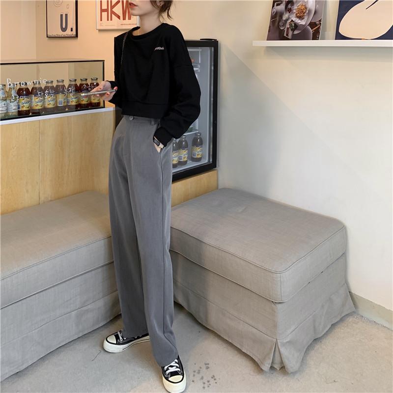 阔腿裤女高腰2021春季新款垂感西装拖地长裤宽松直筒休闲落地裤子