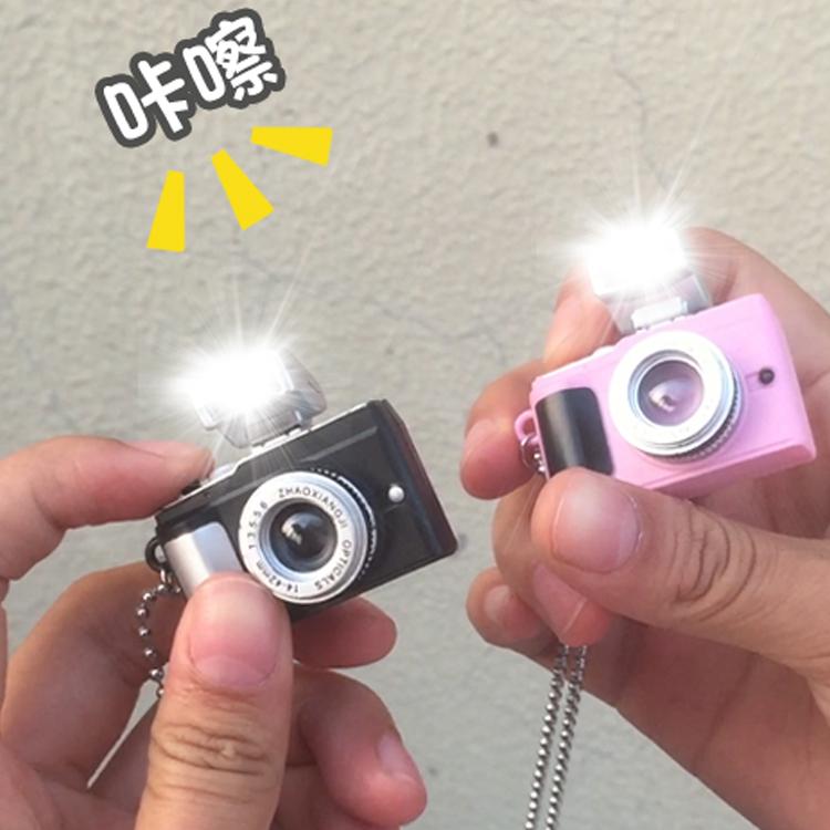 led闪光灯小相机项链男女潮迷你相机吊坠项链复古相机项链可发声