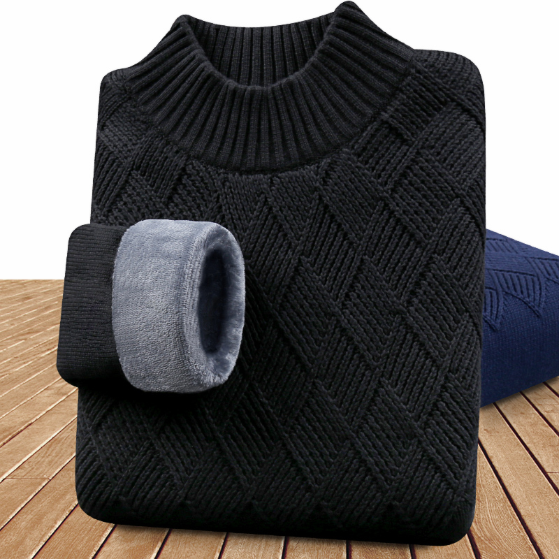 Mens half high neck sweater mens plush and thickened warm bottomed sweater winter trend middle neck coat