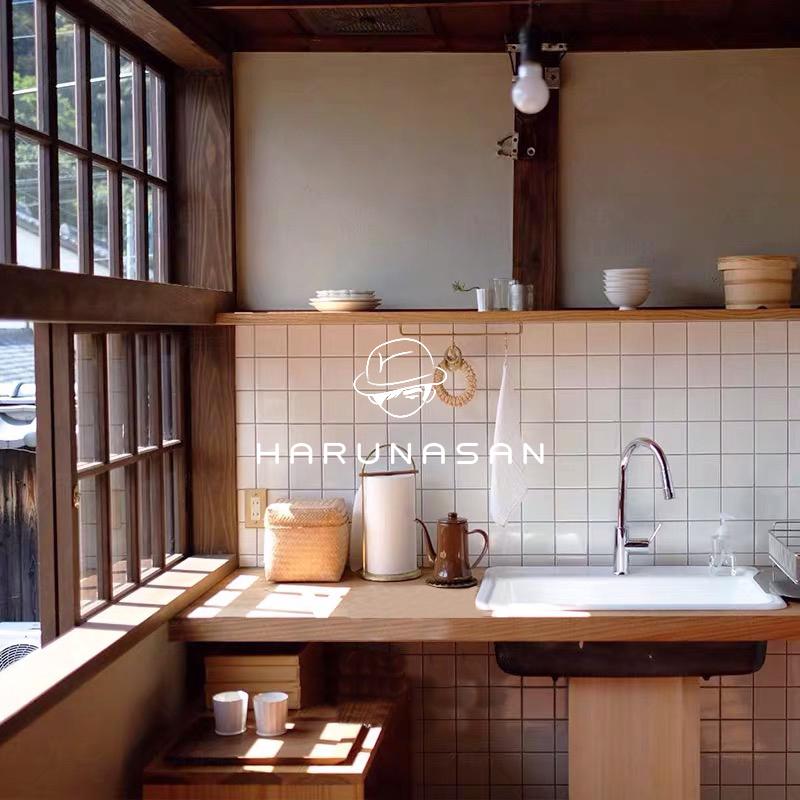 拉槽小白砖卫生间浴室网红柔光瓷砖日式风厨房全瓷通体白色格子砖