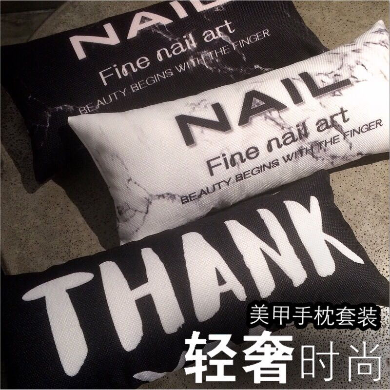 New Japanese manicure hand pillow set marble fleshy ins net red linen waterproof hand pad can be printed with logo