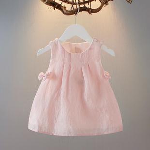 女童夏裝背心裙0-1-2-3歲女寶寶洋氣連衣裙6-7-8個月嬰兒條紋裙子