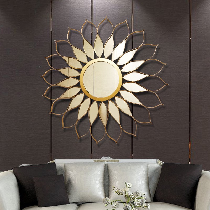 New Chinese light luxury iron Sunglasses wall decoration living room creative wall pendant Hotel Villa Wall Decoration Mirror